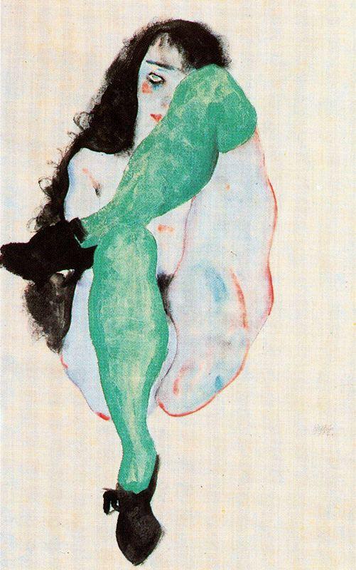 Desnudo femenino con medias verdes
