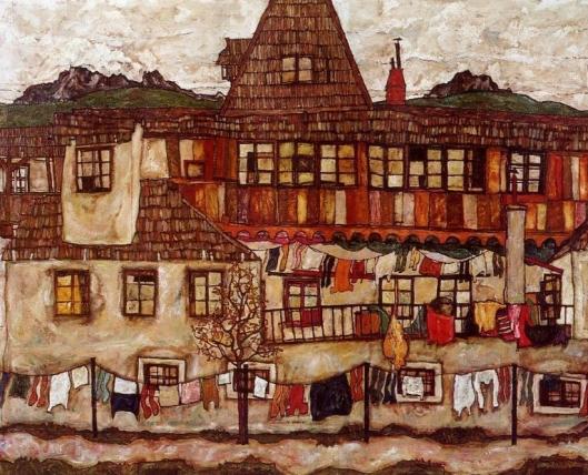 Egon Schiele - casas com roupas penduradas 2