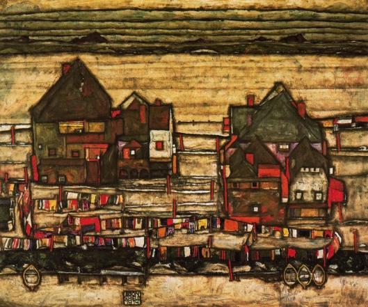Egon Schiele - casas com roupas penduradas