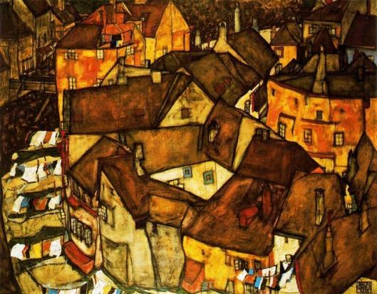 Egon Schiele - Cidade de Krumau 1915-16
