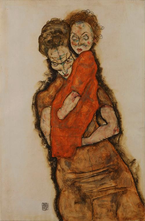 Egon Schiele - Mae e filha 500