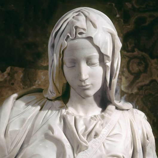 Michelangelo-Pietá do Vaticano detalhe da Virgem