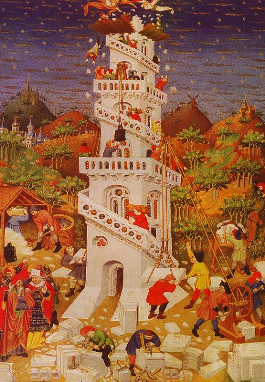 MASTER of the Duke of Bedford - Construindo a Torre de babel 1423
