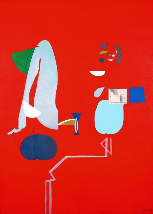 Julio Pomar graca lobo em vermelho com um perfil desenhado a lápis 1973A