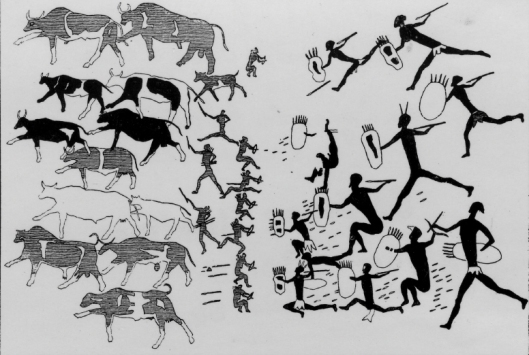 Arte rupestre - Cena de caça - Africa do Sul 01