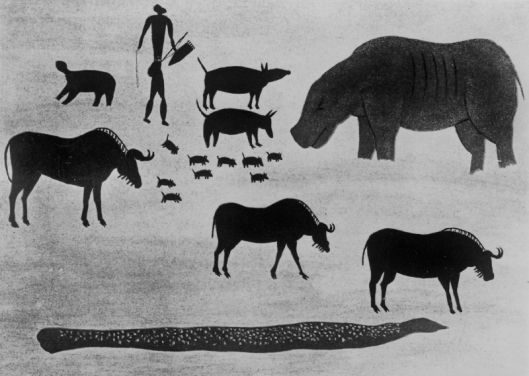 Arte rupestre - Hipopótamo - Africa do Sul 01