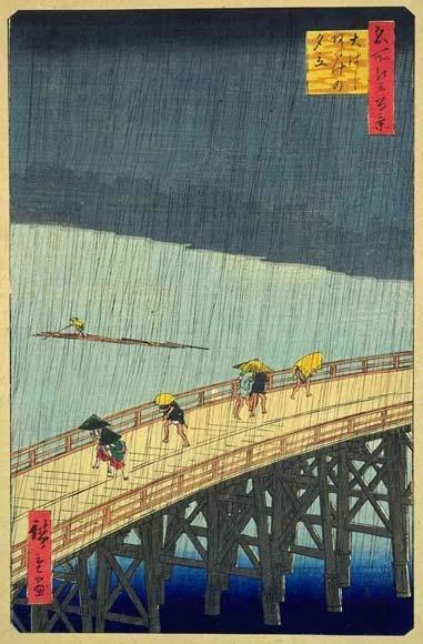 Hiroshige (1797-1858) - 100 vistas de Edo - 52 - Chuvada súbita em Atake original