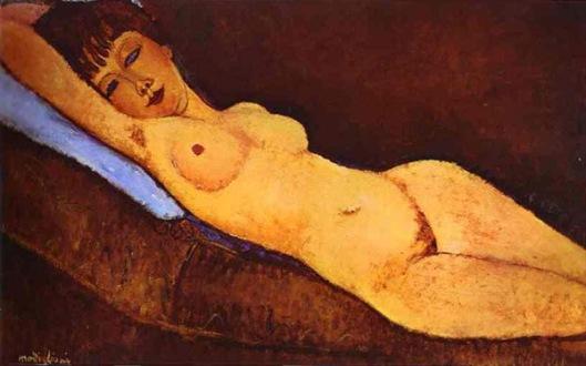 1917 Nu reclinado com almofada azul