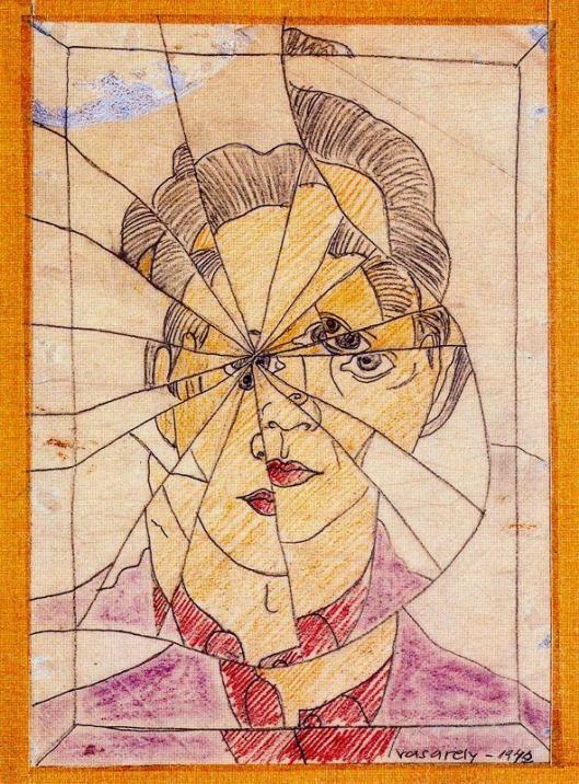 Vasarely_Victor-Autoportrait_brise-1942-II