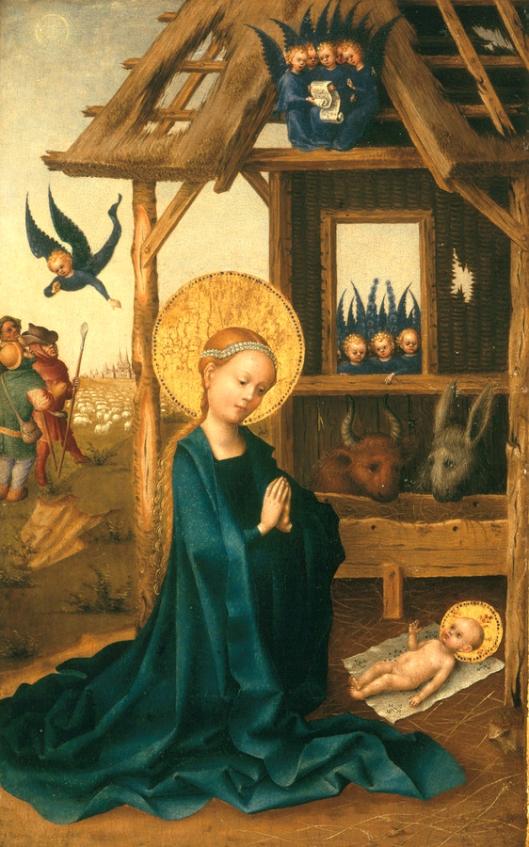 Stefan Lochner (1410-1451) virgem adorando o meninoA