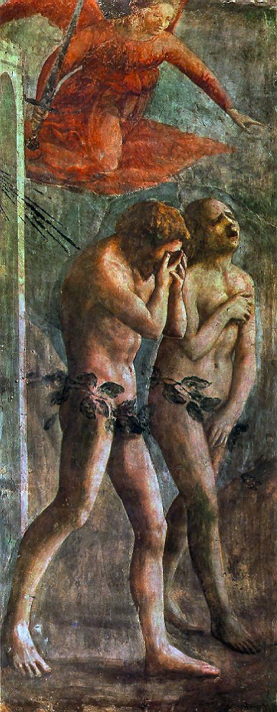 Masaccio - Expulsão do Paraiso 1426-27 Capela Brancacci em Santa Maria del Carmine ANTES DO RESTAURO2