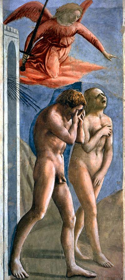 Masaccio - Expulsão do Paraiso 1426-27 Capela Brancacci em Santa Maria del Carmine Após restauro2
