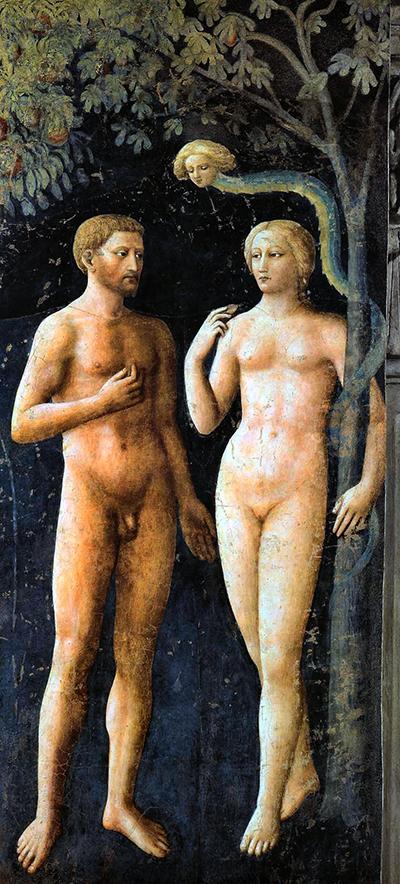 Masolino - Tentação na Capela Brancacci 1426-27B