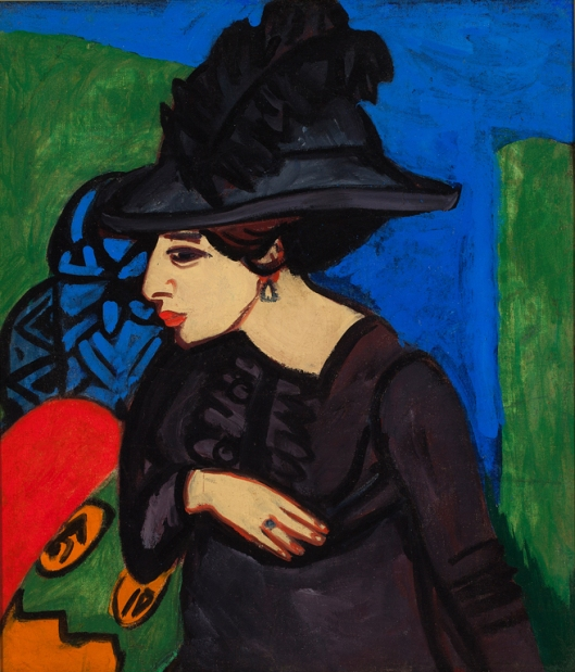 Ernst Ludwig Kirchner (German, 1880–1938). Dodo with a Feather Hat (Dodo mit Federhut), 1911