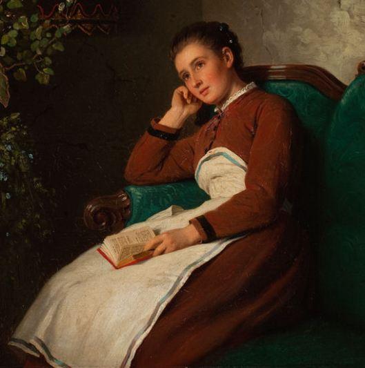 Johann Georg Meyer (German, 1813–1880). Sitting Girl (Reflecting), 1872 detalhe
