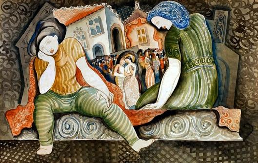 kadar Bela  (1877-1955) figures in a square watercolor on cardboardA