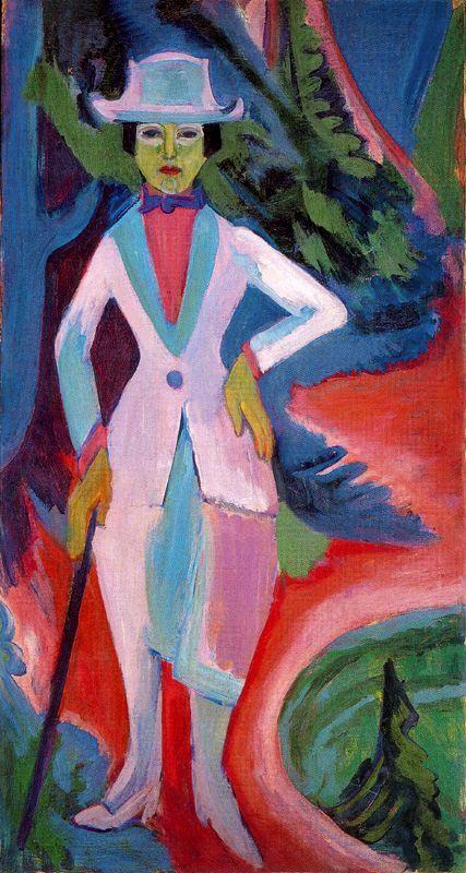Signora nel bosco; ritrato di Nina Hard a sinistra