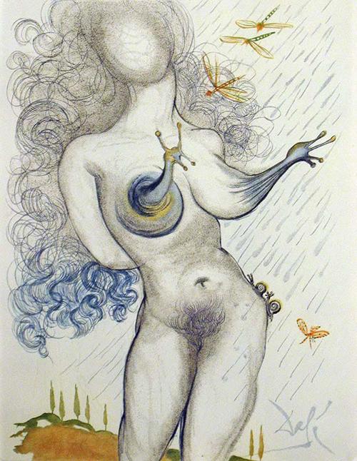Dalí - Nu com seios de caracol