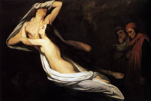 Scheffer, Ary - Os fantasmas de Paulo e Francesca aparecem a dante e Virgilio 1835 Wallace Collection