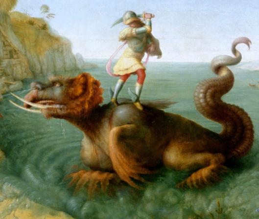 Piero di Cosimo - Perseu ataca o monstro - detalhe de Andrómeda libertada por Perseu
