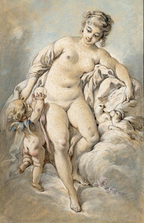 Boucher - Venus e Amor com pombas e maçã pastel