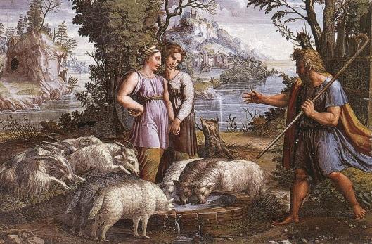 RAFFAELLO Sanzio - encontro de raquel com jacob 1518-19