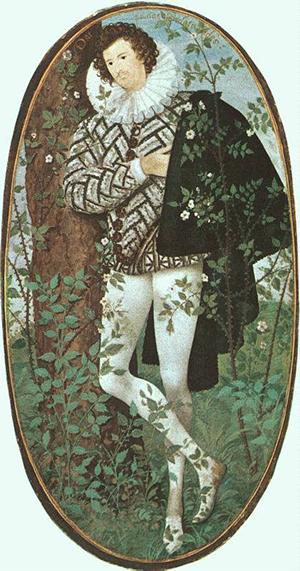 HILLIARD, Nicholas 1547-1619 - miniatura sobre pergaminho 1588 300px